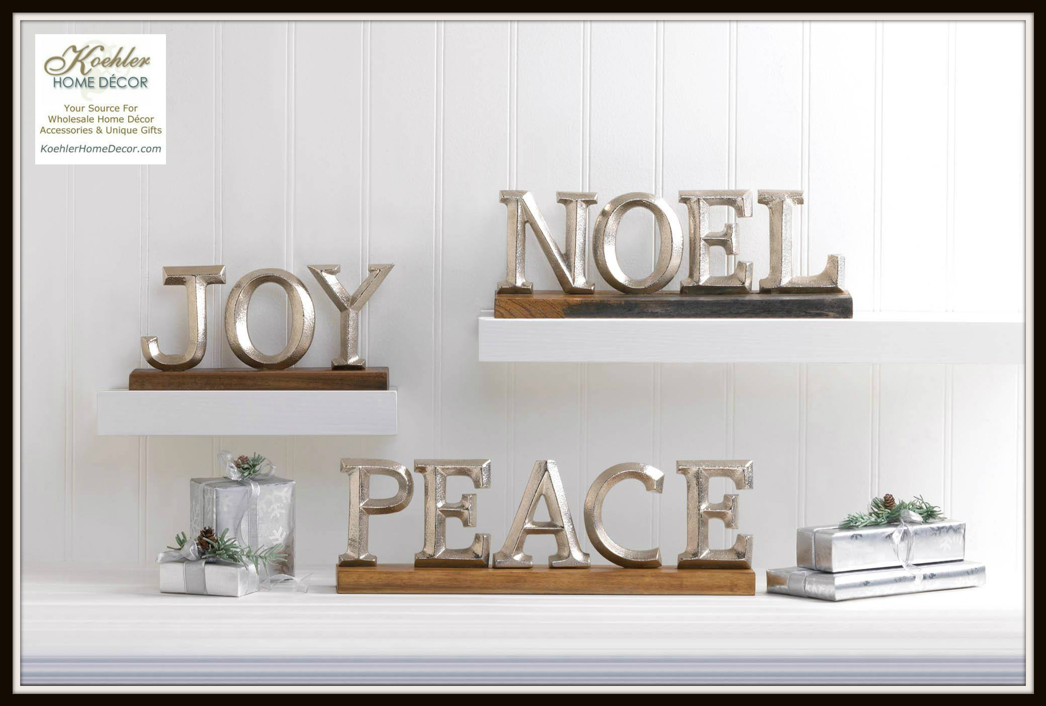 New at khd holiday block letter decor koehler home for Koehler home decor